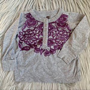 Tea Collection Girl Gray Purple Long Sleeve TShirt